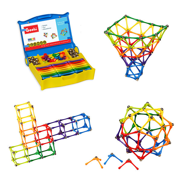 Goobi 180 Piece Construction Set Building Toy Active Play Sticks STEM Learning Creativity Imagination Children's 3D Puzzle Educational Brain Toys for Kids Boys and Girls with with a Storage Case and an Instruction Booklet
