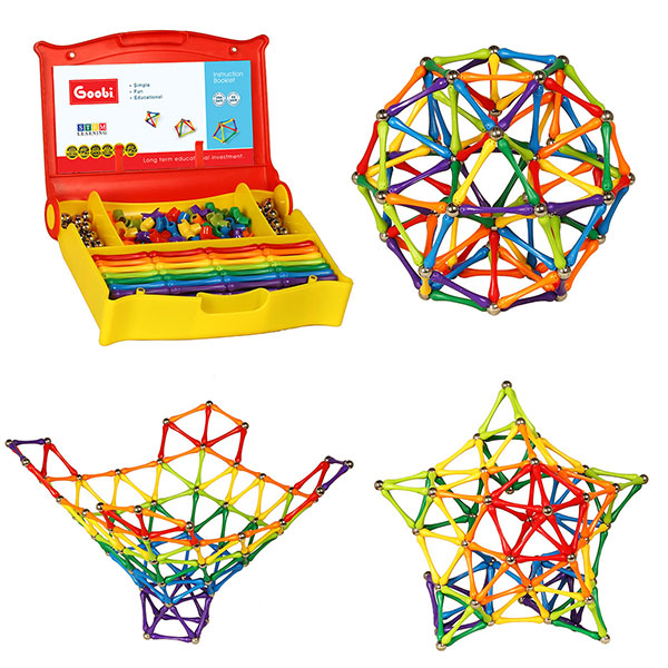 Goobi 300 Piece Construction Set Building Toy Active Play Sticks STEM Learning Creativity Imagination Children's 3D Puzzle Educational Brain Toys for Kids Boys and Girls with with a Storage Case and an Instruction Booklet